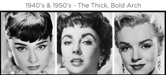 Eyebrows through the ages - 1940s and 1950s