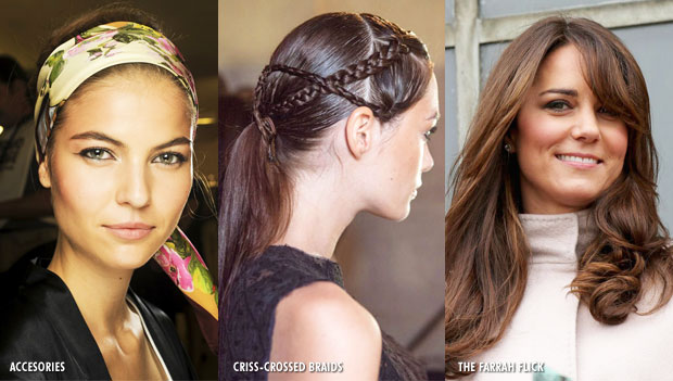 Hair trends for 2013 - Accessories, Criss-crossed braids and The Farrah flick