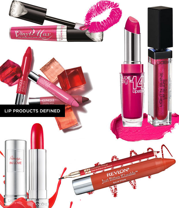 Different types of lip products