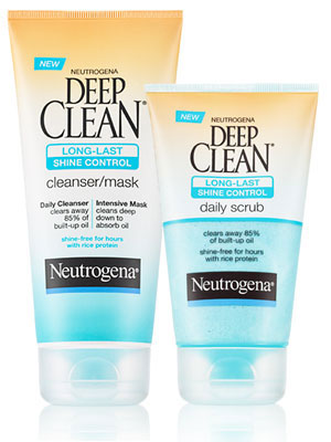 Neutrogena Deep Clean Long-Last Shine Control Daily Scrub and Neutrogena Deep Clean Long-Last Shine Control Cleanser/Mask