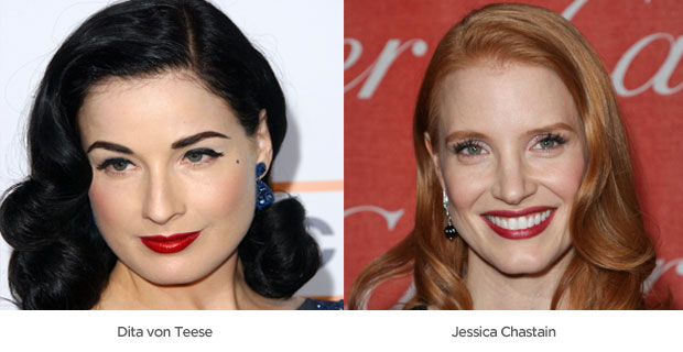 Celeb red lips