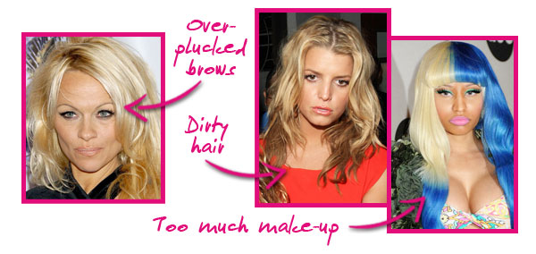 Celeb make-up blunders, Pam Anderson, Jessica Simpson, Nicki Minaj