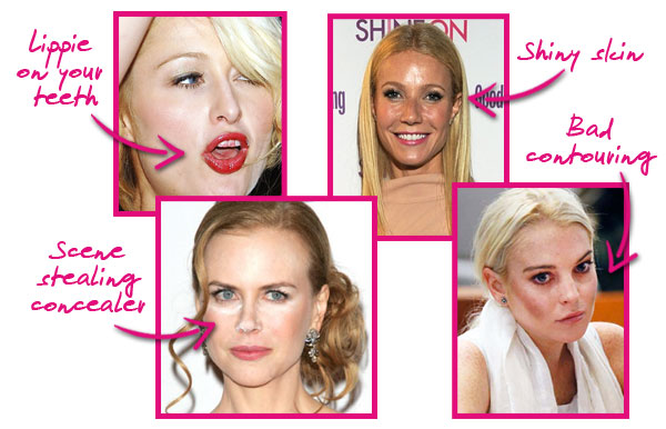 Celeb make-up blunders, Paris Hilton, Nicole Kidman, Gwyneth Paltrow, Lindsay Lohan
