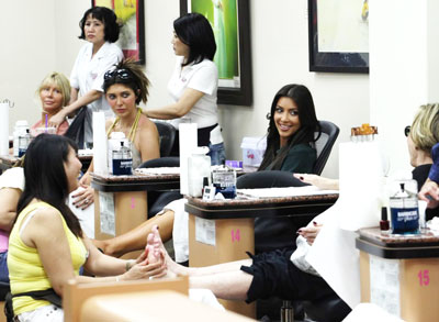 Kim Kardashian matching manicure and pedicure