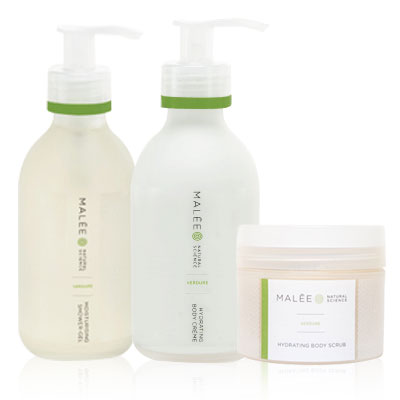 Malee Verdure Moisturising Shower Gel, Verdure Hydrating Body Creme and Verdure Hydrating Body Scrub