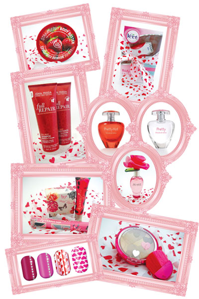 The Body Shop body butter, Veet Body Duo 2 in 1 Solution Shaver and Epilator, Elizabeth Arden Pretty and Pretty hot, Marc Jacobs Oh Lola, John Frieda Full Repair Shampoo and Conditioner, Accessorize bronzer, Lipgloss tube, Volumizing mascara, Physicians Formula Happy Booster, Minx nails