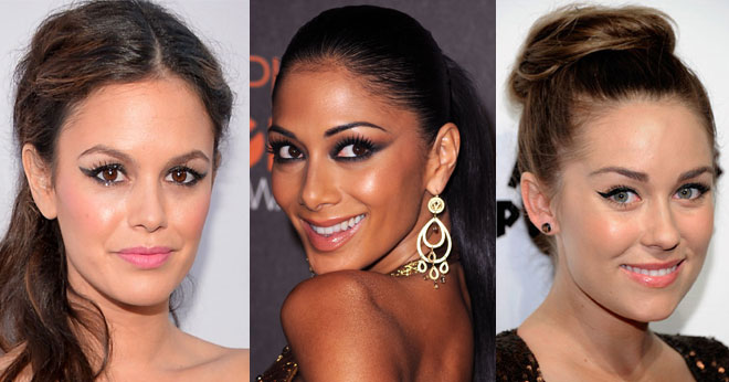 Celebrities wearing winged eyeliner