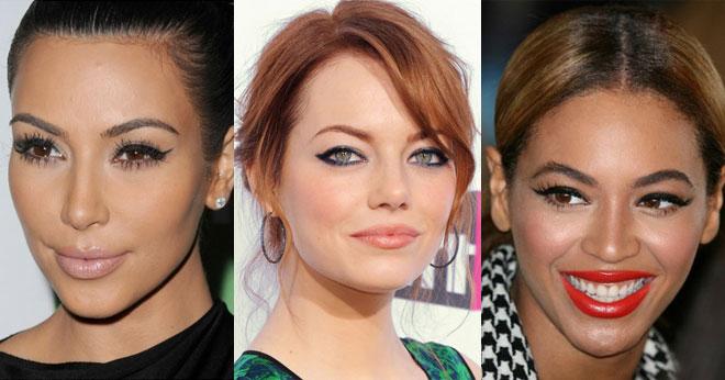 Winged eyeliner on celebrities