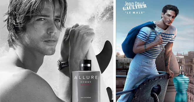 Attractive men in Chanel and Jean Paul Gaultier adverts
