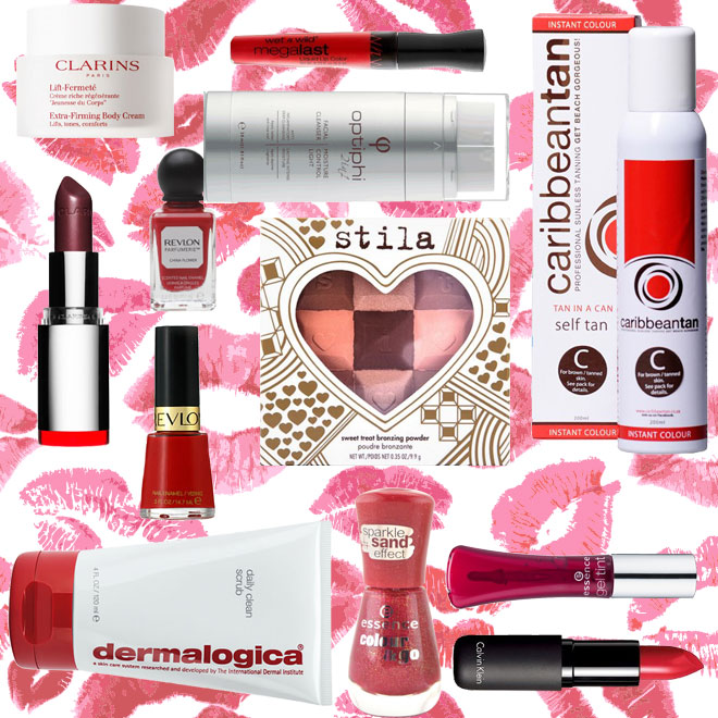Red beauty products for Valentine's Day