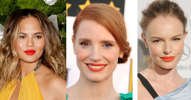 Which celeb wore the orange lip trend the best