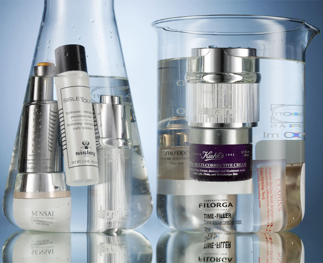 HIgh-end anti-ageing products from Clarins, Prevage, Filorga and Elizabeth Arden