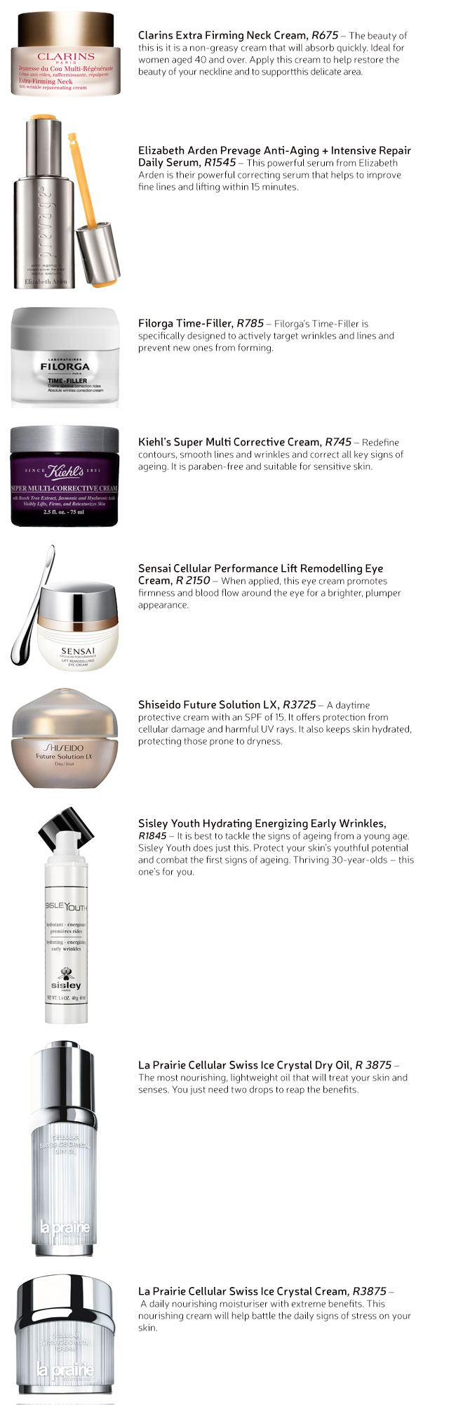High-end anti-ageing beauty products